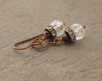 Crystal and Garnet Earrings, Vintage Style Crystal Earrings - Garnet Earrings