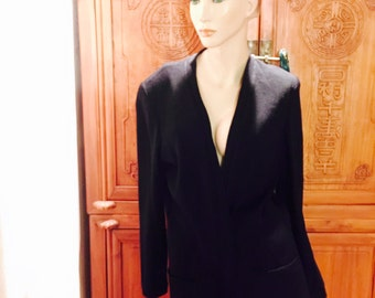 St John Marie Gray Basics Black Open Front Cardigan Knit Sweater Cottage Chic S
