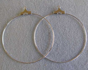 """6 Pair or 72 Pair Silver Plated Beading Hoops, 40 mm (1-9/16""""), Large Beading Hoops"""