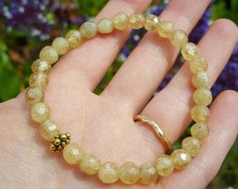 Citrine bracelet with brass detail | citrine gemstone bracelet | healing crystals | lapurplee