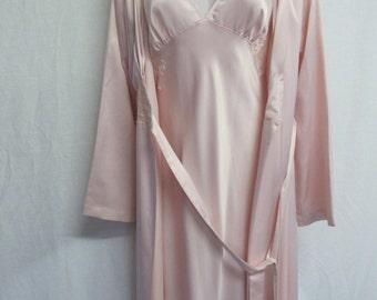 Satin Nightgown Set 1990's Nightgown Peignoir I Magnin Nightgown Set Pink Nightgown And Robe