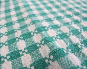 Woven Tablecloth Picnic Tablecloth Green White Tablecloth Round Checked  Tablecloth 1970 Woven Tablecloth Farmhouse