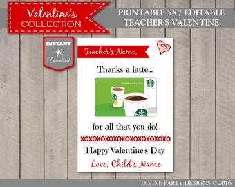 INSTANT DOWNLOAD Editable 5x7 Thanks a Latte Teacher Valentine Card / Insert Gift Card / You Type Names / Valentine's Collection