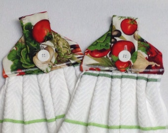 Fresh Vegetables Hanging Kitchen Towels-Matching Hot Pad Combo Available
