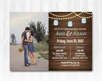 Mason Jar Rehearsal Dinner Invitation DIY PRINTABLE Digital File or Print (+) Rustic Rehearsal Invitation Photo Rehearsal Dinner Invitation
