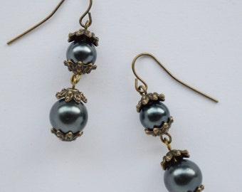 Beautiful Dangling Earrings made with black beads
