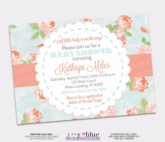 Shabby chic baby shower invitation vintage floral coral turquoise il570xn filmwisefo