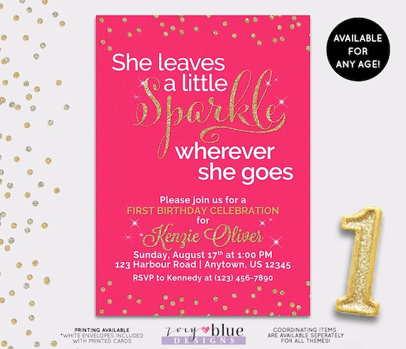Pink & Gold First Birthday Invitation - She leaves a ...