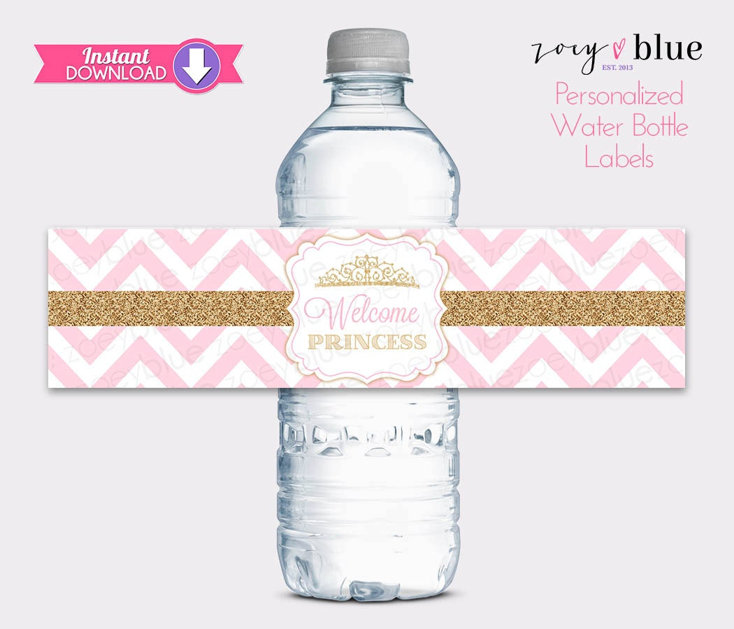 Princess water bottle labels pink gold baby shower water for How to put labels on water bottles