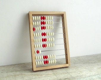 Soviet Vintage Abacus - wooden counting frame with plastic beads - Russian calculator - back to school - counter - made in USSR