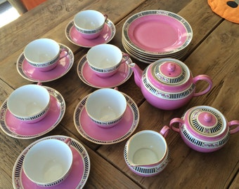 Victoria Czechoslovakia 250 Pink Black 1920's or 30's complete Tea Set with 6 cups and saucers, 6 plates, cream, sugar, and teapot
