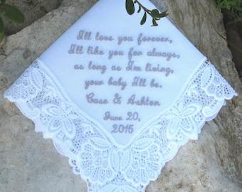 LACE WEDDING HANDKERCHIEF, Personal Message, Mother of Bride/Groom, Keepsake, Date, White/Ivory, Unique, Gift Box, Ladder Portrait 12x12