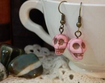 Carved Pink Stone Skull Earrings