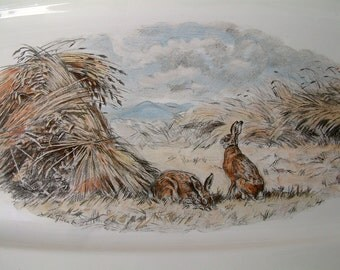 Vintage Villeroy Boch Fontainbleau platter. Illustration by Xavier de Poret. Rabbits. Nature. French country decor. Hunting theme