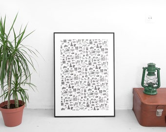 Barcelona Silk Screen Print / Hand made silk screen DIN-A3