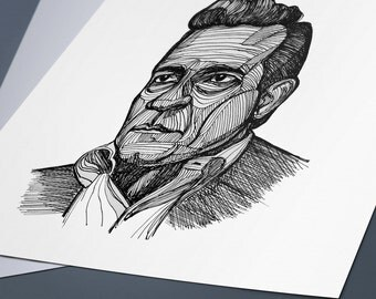 Johnny Cash Line Drawing Portrait Print