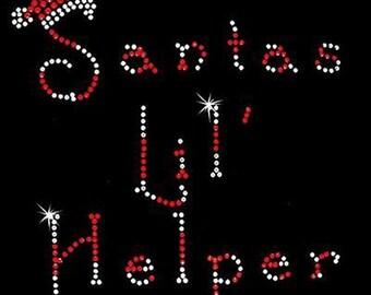 Rhinestone Transfers - Hot Fix Motif - Santas Lil' Helper