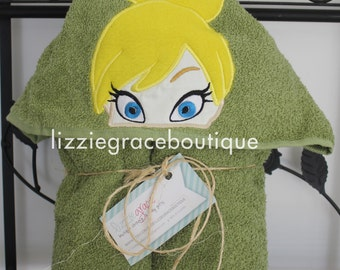 Tinkerbell Inspired Hooded Towel, Kids Hooded Towel, Beach Towel, Pool Towel, Tinkerbell Bath Towel, Tinkerbell Towel