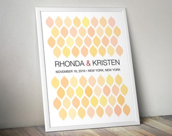 Wedding Guest Book Alternative - Signature Poster - Pastel Leaves