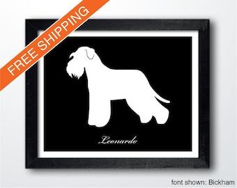 Personalized Standard Schnauzer Silhouette Print with Custom Name (Natural) - Standard Schnauzer art, modern dog home decor