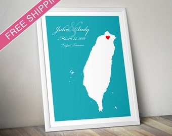 Personalized Taiwan Wedding Gift : Custom Location and Map Print - Engagement Gift, Housewarming Gift - Wedding guest book poster