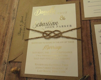 Gold Foil and Twine Knot, Rustic Wedding Invitation , Gold Wedding Invitation, Blush Wedding Invitation, Custom Rose Gold Ideas