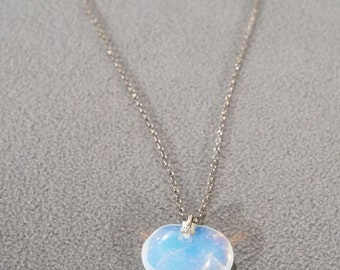 Vintage Sterling Silver Bold Opalescent Luster Art Glass Puffed Heart Pendant Charm Necklace Chain #112  **RL