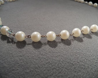 Vintage Glorious Faux Pearl & Iridescent Bead Necklace, So Elegant!~~ **RL