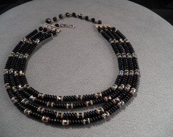 Vintage Stunning 4-Strand Black Bead Necklace, Magnificent!~~    **RL