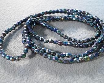Vintage Fancy faceted Uniform Round Aurora Borealis Lucite Bead Necklace Jewelry **RL