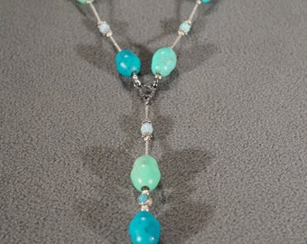 Vintage Art Deco Style Silver Tone Glass Beads Southwestern Style Faux Turquoise Y Necklace Jewelry -K#10