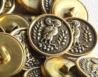 8 OWL Metal buttons- Sew on