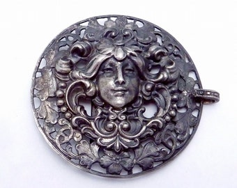 Antique 1890s Art Nouveau Silver Plated Ornate Woman with Flowing Hair Half Buckle 22298