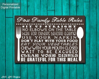 Table Manners Sign. Family Table Rules Sign. Kitchen Decor. Dinner Rules Sign. Dining Room Wall Art. Family Rules Sign. Kitchen Wall Art.
