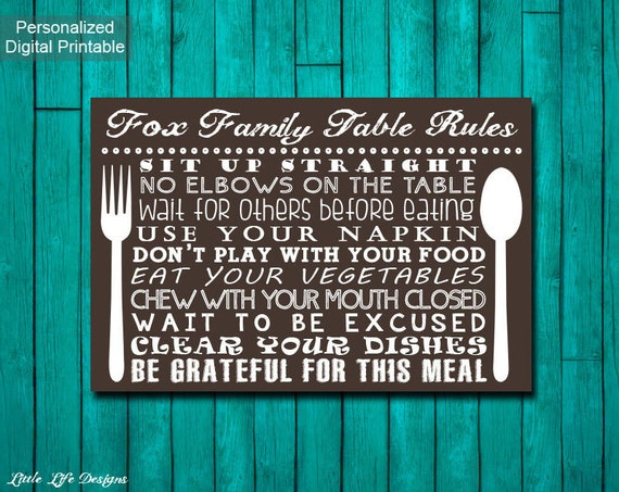 Table manners sign family table rules sign kitchen decor for Table etiquette rules