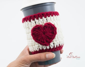 Heart Cup Cozy - Coffee Cup Sleeve - Travel Cup Cozy - Travel Coffee Sleeve - Gift Under 10