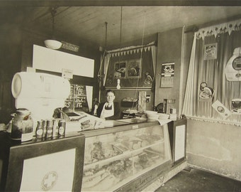 The Butcher - Occupational Photo On Cardboard Of A 1930's Butcher Shop - Free Shipping