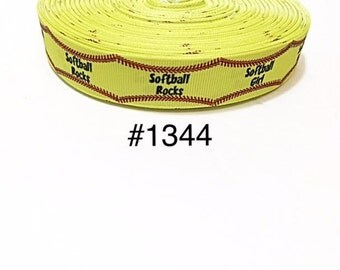 """3 or 5 yard - 7/8"""" Sport Softball Rock with Red Lace Motif Grosgrain Ribbon Hair bow"""