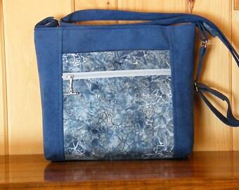 Ultrasuede Purse / Cross Body Purse / Zip Top Purse  /  Front zip pocket / Blue Ultrasuede / Batik Front Pocket / Adjustable Strap