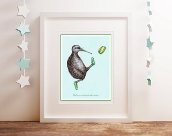 Rugby print, Kiwi bird playing rugby, 5 x 7, 8 x 10 and 11 x 14
