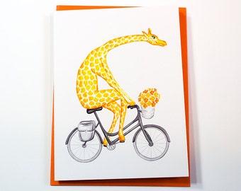Giraffe on bike, giraffe on bicycle, cycling giraffe, giraffe card