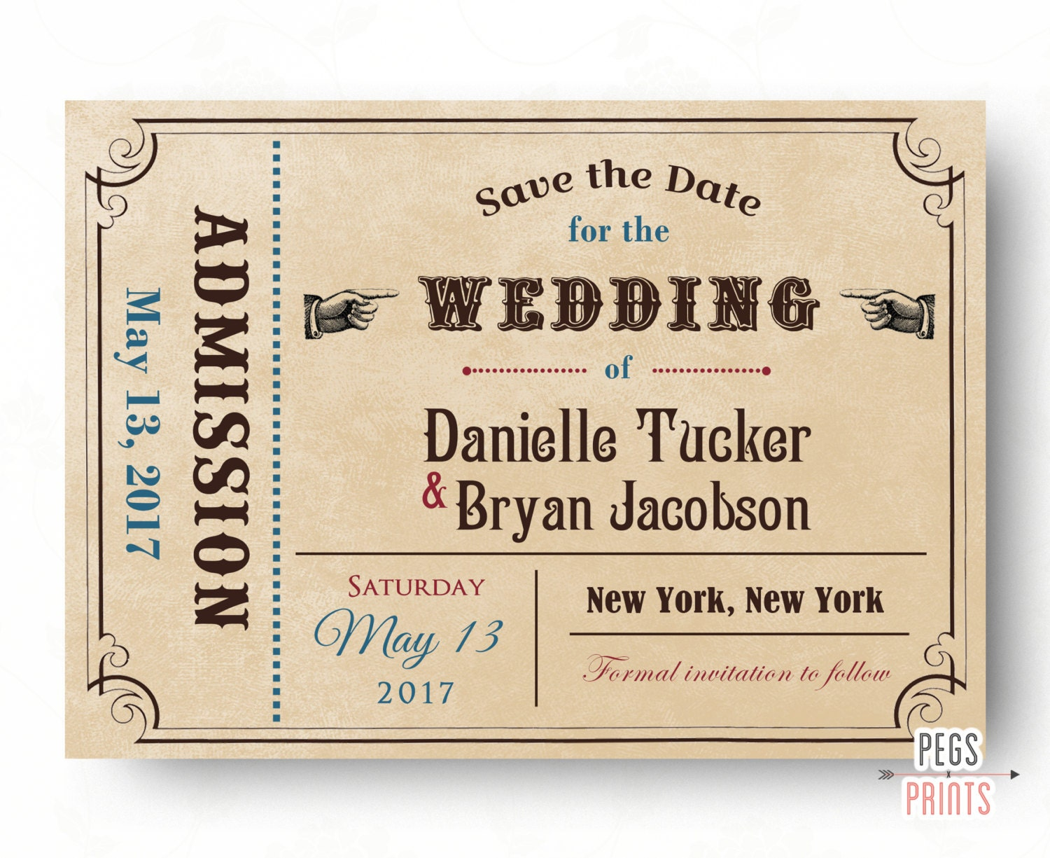 Ticket save the date card printable admit one save the date for Printable save the date cards