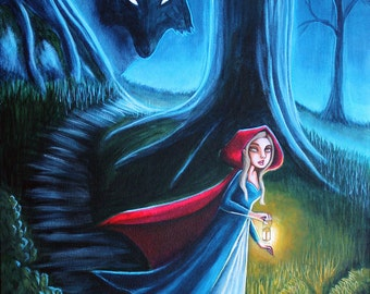 "Little Red Riding Hood and Big Bad Wolf Original Fairy Tale Fantasy Painting 16""x20"" Acrylic Painting Gallery Wrapped Canvas by Anntwanette"