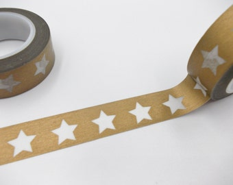 Gold Washi Tape with White Stars 15mm x 10m Wedding Washi tape, Golden wedding decor, Masking tape, Washy tape, Gift tape, Gold tape