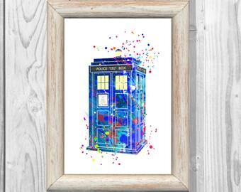 Doctor Who Poster Tardis Decor  Watercolor illustrations Art Print Giclee Wall Decor Art  Home Decor  No 58