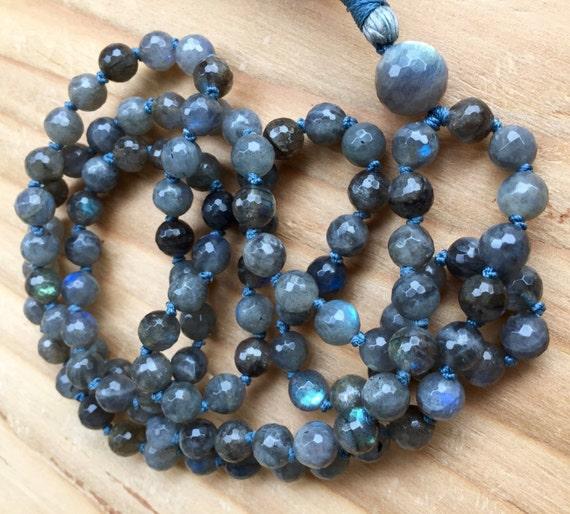 108 Labradorite Mala Beads Blue Labradorite Spectrolite Feldspar Clarity Strength Intuition Third Eye Root  Crown Chakra Balances Aura