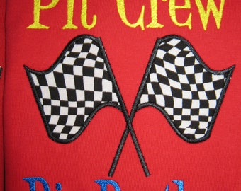 Personalized Race Car Hot Wheels Birthday Shirt, shown here as big brother pit crew shirt