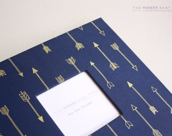 Navy Gold Arrows MODERN Baby Book. Baby Keepsake. Baby memory book. toddler keepsake. baby journals. newborn keepsake. scrapbook