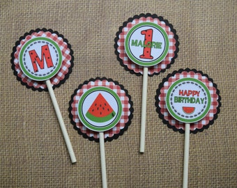 12 Red and Green Watermelon Picnic Cupcake Toppers