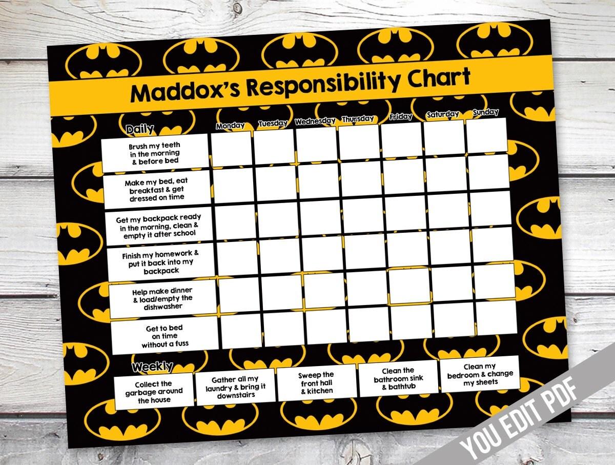 batman chore chart printable boys reward chart 128270zoom